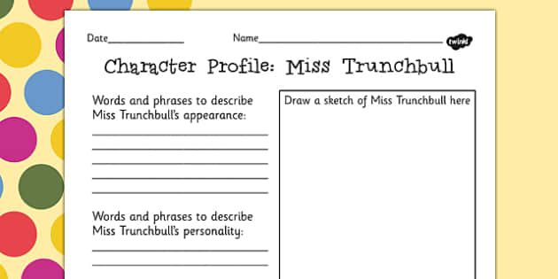 Preview of Miss Trunchbull Character Profile Activity Sheet to Support Teaching on Matilda