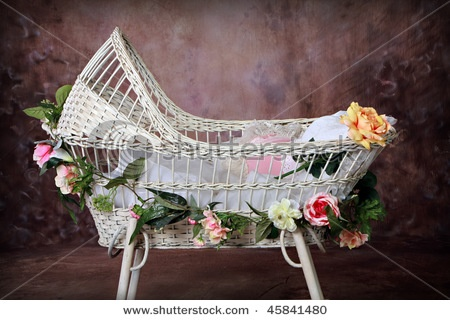 White Antique Wicker Baby Bassinet Stock Photo 45841480 : Shutterstock