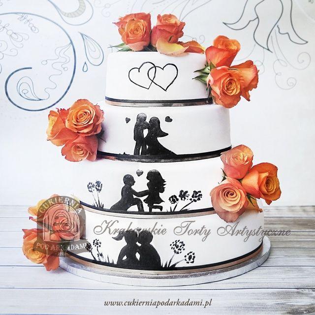 40bw Weselny Tort Z Recznie Malowana Historia Milosna I Zywymi Kwiatami Love Story Wedding Cake Cake Cake Blog Wedding Cakes