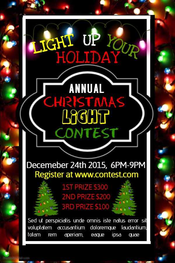 christmas lights contest poster template
