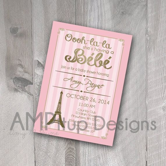 Paris Baby Shower Invitation  Printable by AMPitupdesigns on Etsy