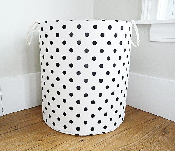 Xl Fabric Storage Laundry Hamper Canvas Basket White And Black Polka Dot Fabric Organizer Toy Or Nursery Basket Storage Bin 20 Tall Fabric Storage Organize Fabric Laundry Hamper