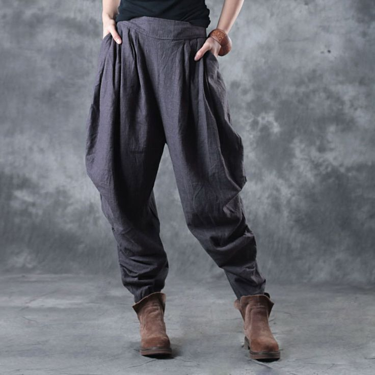 Simple Design Linen Gray Trousers Holidays Balloon Pants    #gray #linen #trousers #pants #woman #casual