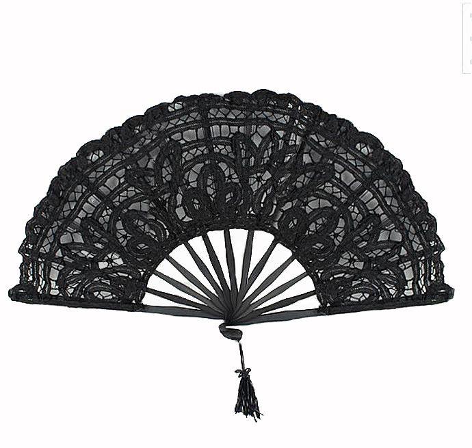 Victorian Lace Hand Fan Hand Lace - Steampunk Funk