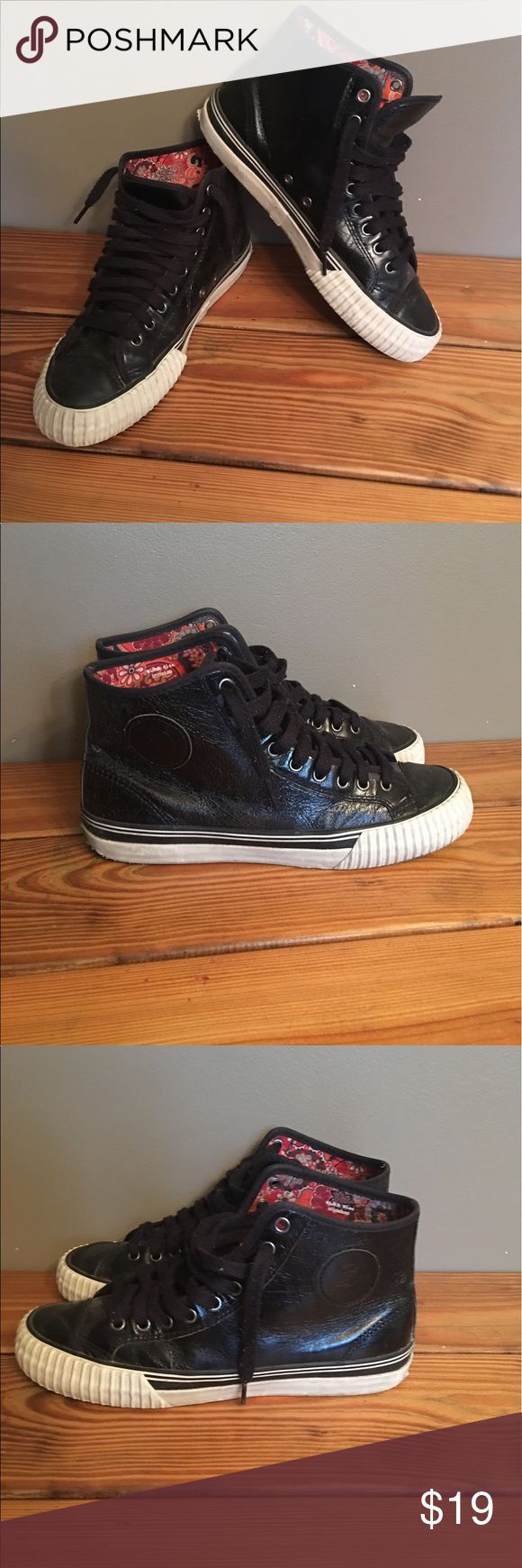 PF Flyers Black Leather Men's High Top Sneaker 9.5 PF Flyers Black Leather Men's High Top Sneaker 9.5. Excellent pre owned condition. Very cool paisley liner inside of shoe. Rare. PF Flyers Shoes Sneakers