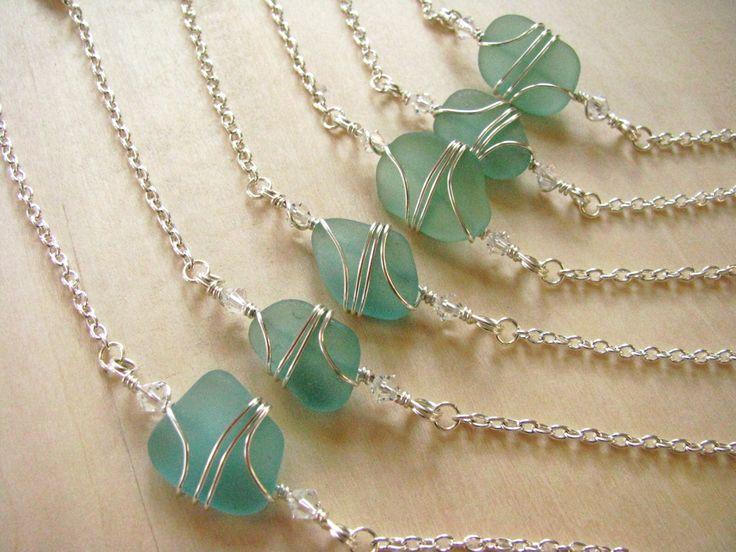 Bridesmaids Bracelets in Mermaid Green Sea Glass