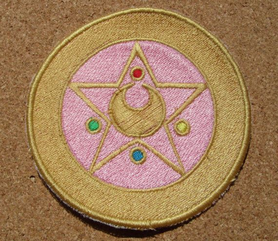 Sailor of thei Moon Anime transformation brooch Version 2 Iron on OR Sew on machine embroidered patch
