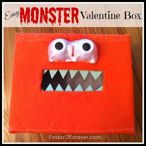 Check out this easy monster Valentine box for boys! Great idea via @Foster2Forever: Penelope #kids #diy #craft #ValentinesDay