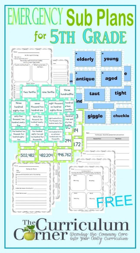 Emergency Sub Plans for 5th Grade FREE from The Curriculum Corner |  writing, graphic organizers, common core aligned