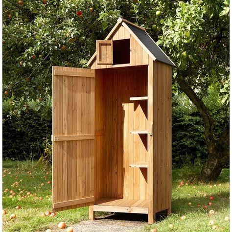 Garden Wooden Tool Shed Storage - Natural - Beach Hut Style - Brundle Gardener