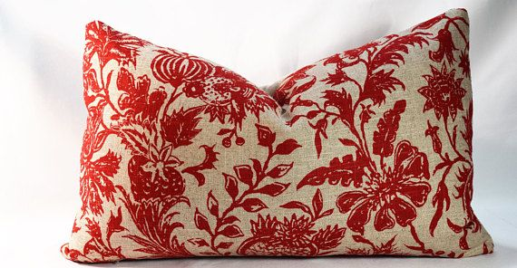 Chinese Red and Rattan Beige Pillow Cover Designer Throw