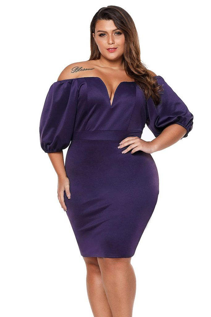 5f5dca46f33 Short Puff Sleeve Plus Size Bodycon Dress in 2019