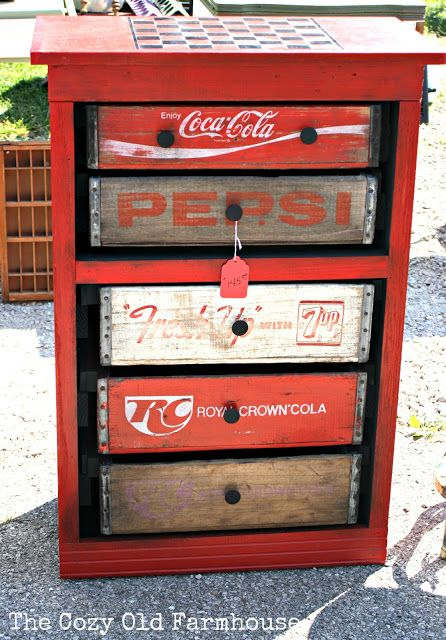 Soda crate dresser, shot by The Cozy Old Farmhouse, featured on Funky Junk Interiors. Game chest for back porch?