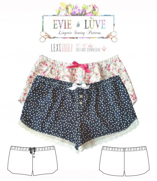 The Lexi Chick boxers are a comfy, casual style featuring an elasticated waist and baggy fit. They can be finished with a normal or decorative hem, instructions are included for both. Its a versatile pattern that can be used to make sleep shorts or even beach wear.The pattern is designed for...