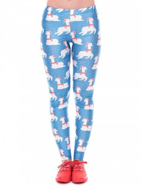 6721454823b66 Women Winter Digita Print Christmas Leggings Tights Pants - BLUE XL ...