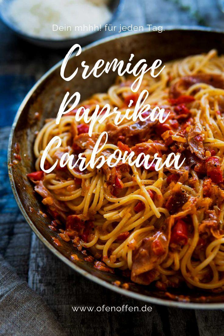 Spaghetti Paprika Carbonara – emmikochteinfach – einfache Rezepte: Kochen, Backen für Familie und Alltag