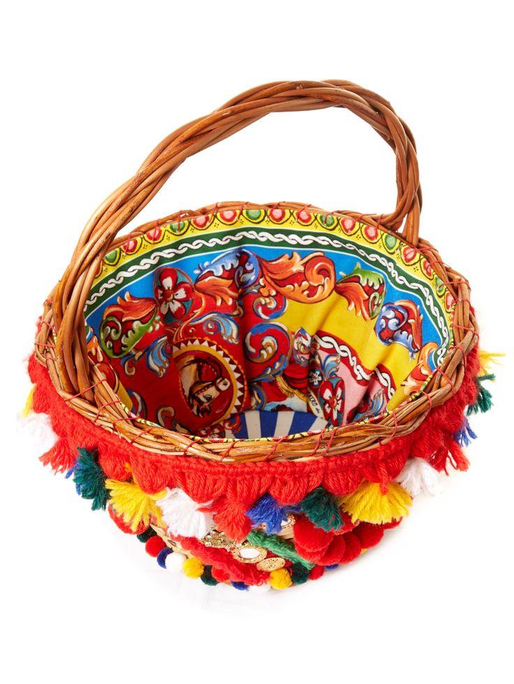 Ajnese pompom-embellished basket bag | Dolce & Gabbana | MATCHESFASHION.COM US
