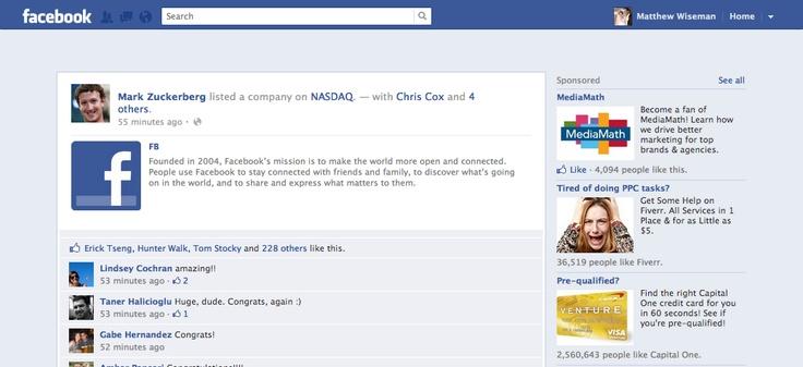 Mark Zuckerberg FB IPO status update
