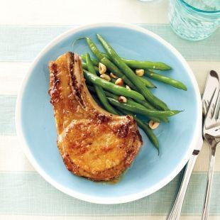 Orange-Glazed Pork Chops With Hazelnut Green Beans recipe