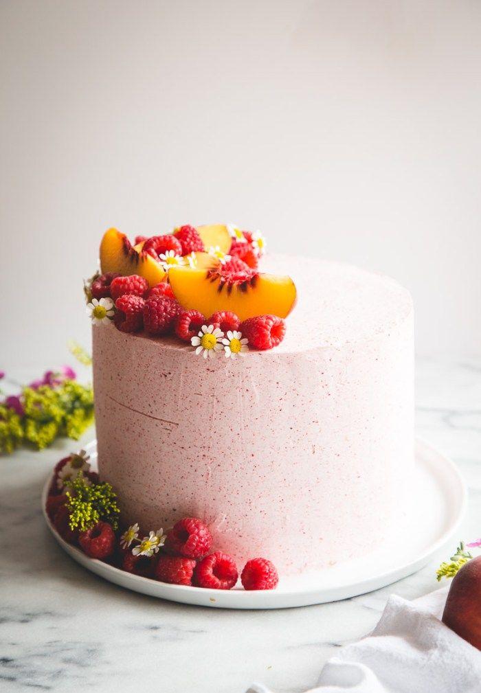 Almond Cake with Peach + Mascarpone Filling & Raspberry Buttercream