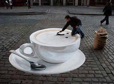 Tea as street art: Chalkart, Sidewalks Chalk Art, Street Artists, 3D Street Art, Optical Illusions, 3D Art, Coff Cups, Sidewalks Art, Streetart