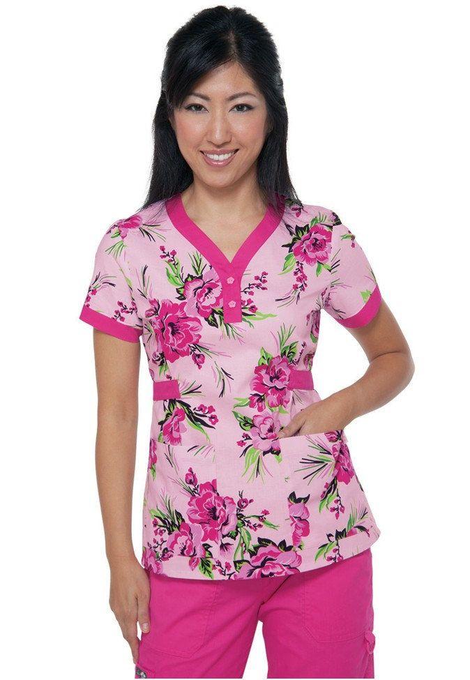Koi Kourtney Brightside Flamingo print scrub top. - Scrubs and Beyond #scrubs #uniforms #nurse