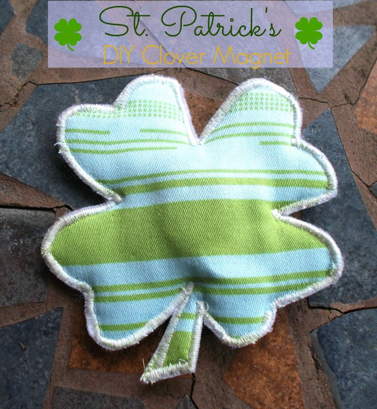 Clover magnet to sew with pattern to print