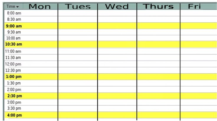 Monday Through Friday Calendar With Times Monthly calendar monday ...
