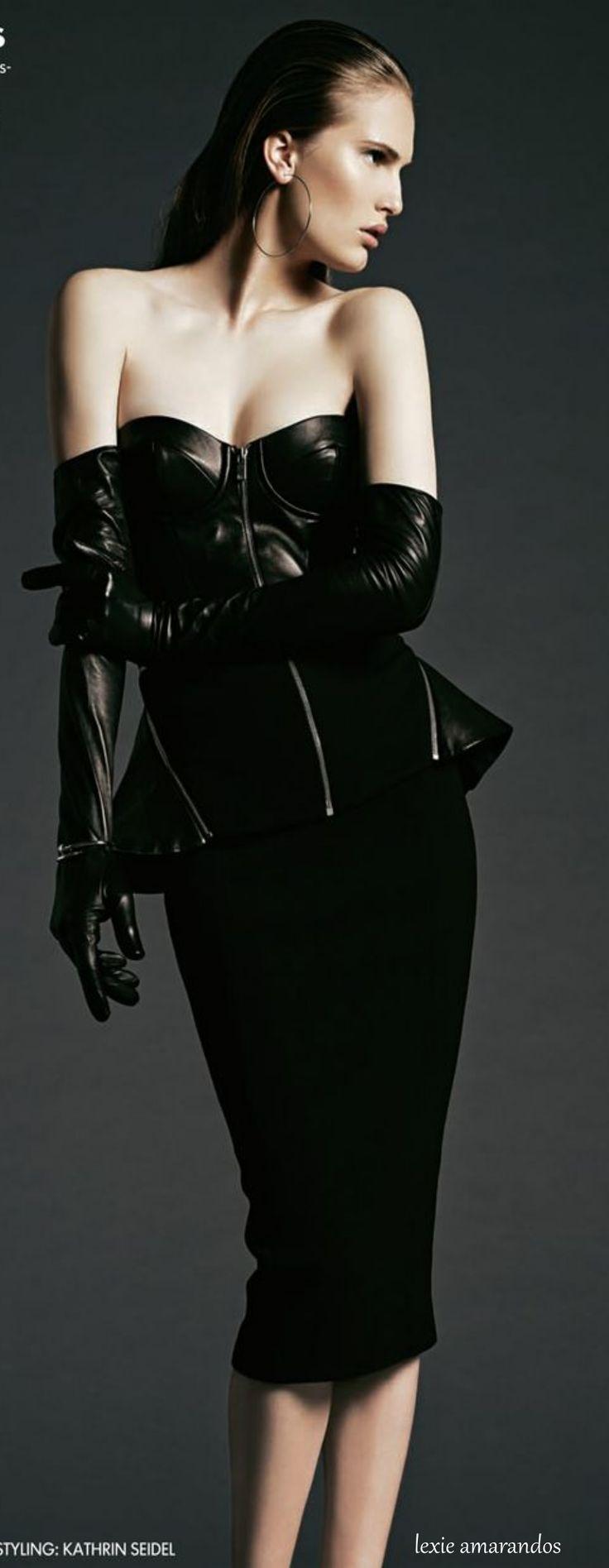 Black vinyl gloves long - Micheal Kors