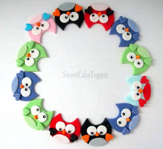 Owl Fondant Cupcake Topper - Handmade Edible Cupcake Toppers - 12 Pcs