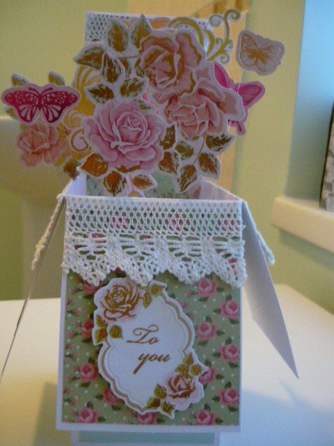 My first ever box card which has turned out really well. I used background papers from Tattered Lace magazine and the flowers are from Stephanie Weightman Sugar Rush collection. Then I added lace and a sentiment.