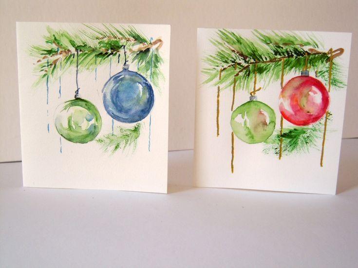 Carte Aquarelle Fait Main Noel Et Voeux Christmas Card Art