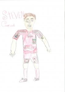 Fútbolistas dibujados por niños. En este caso Steven Gerrard por James Slaney  Aged 12 años, Notts