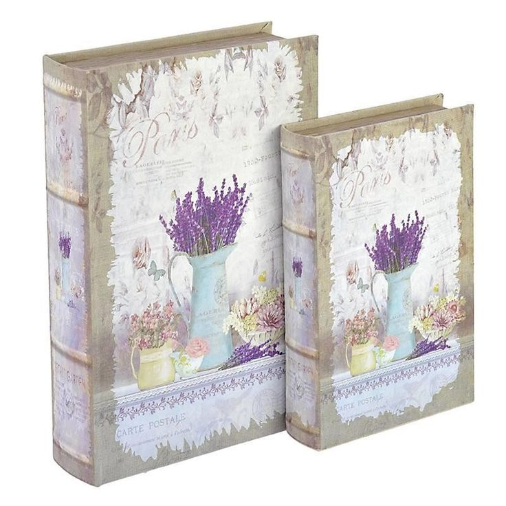 S/2 WOODEN/FABRIC BOOK BOX W/LAVENDER 33X22X7 - Boxes - Baskets - DECORATIONS