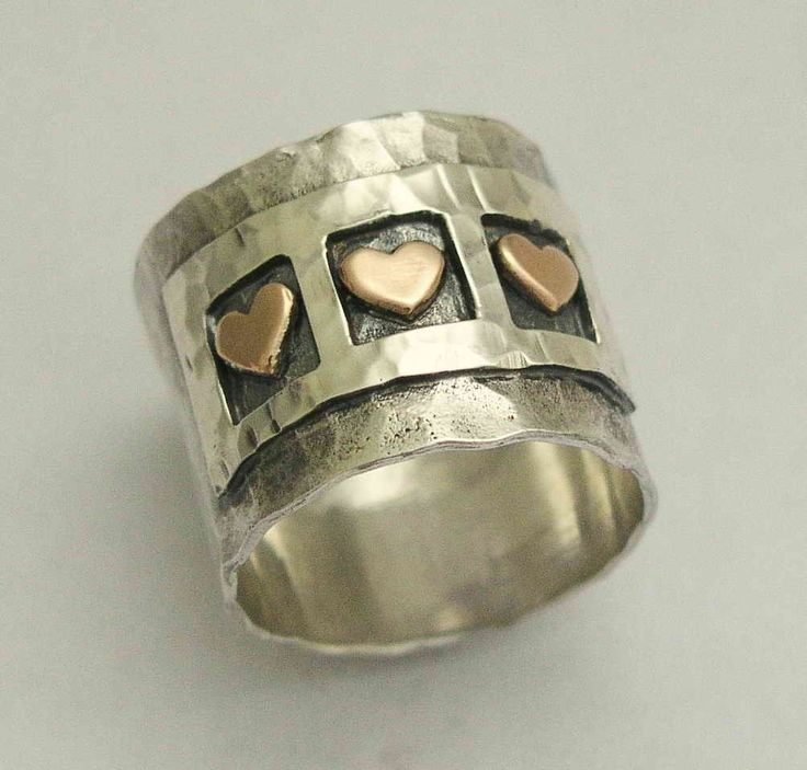 Valentines ring Sterling silver band triple heart by artisanimpact, $164.00