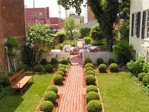 Garden Ideas For Narrow Spaces garden landscape ideas for small spaces Nice Landscape Idea For A Narrow Space I Like The Ball Shape Box Woods Lining Home Garden Designgarden