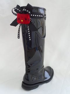 black wellies decorated with red hello kitty by ellishoes.blogspot.com