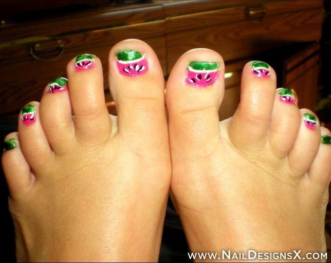 watermelon toe nail art