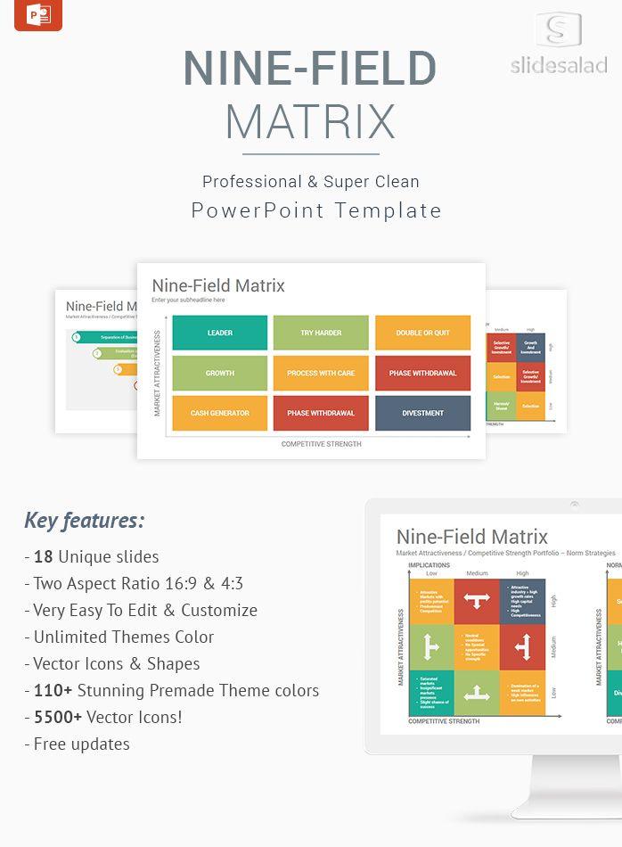 Nine Field Matrix Diagrams Powerpoint Template Designs
