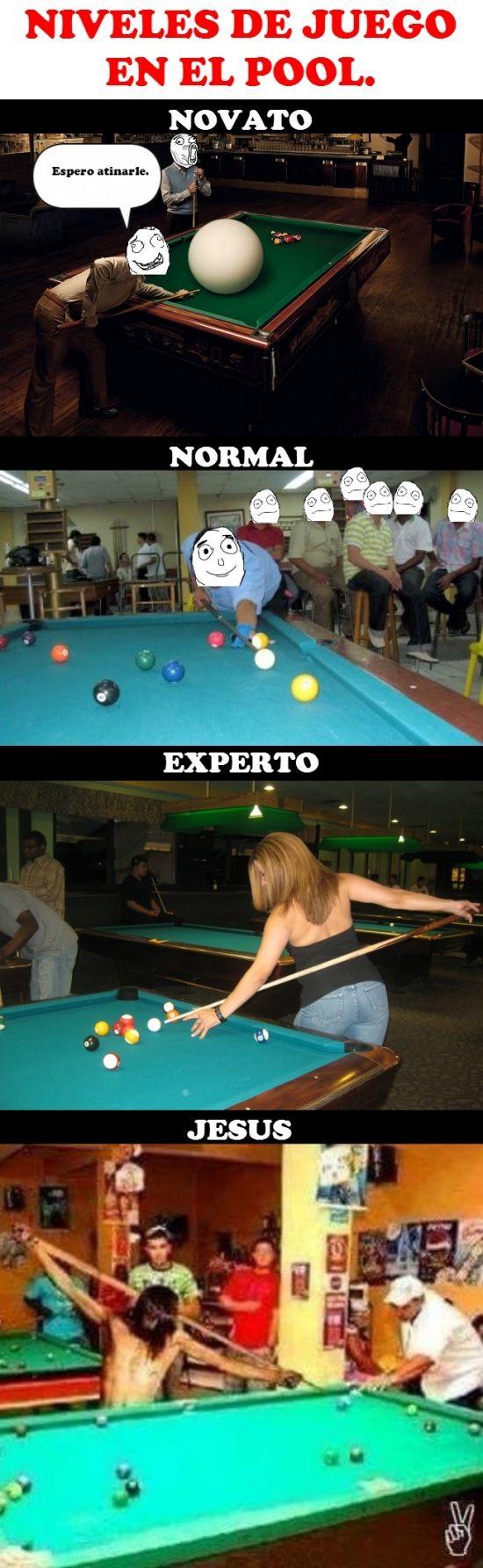 Niveles de juego de Pool (también conocido como billar americano)        Gracias a http://www.cuantocabron.com/   Si quieres leer la noticia completa visita: http://www.estoy-aburrido.com/niveles-de-juego-de-pool-tambien-conocido-como-billar-americano/