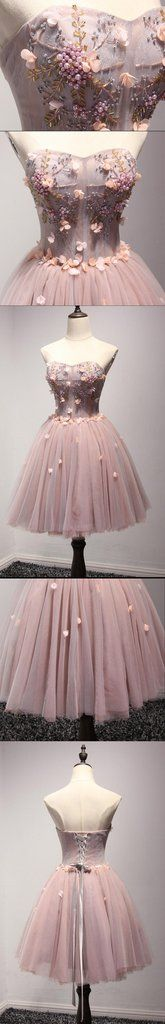 Beautiful Blush Pink Strapless Beaded Homecoming Prom Dresses, Afforda – SposaDesses