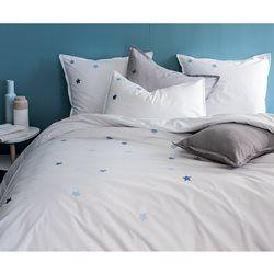 Housse de couette blanche brodée bleu - 100% coton MATT ET ROSE - Housse de couette ado