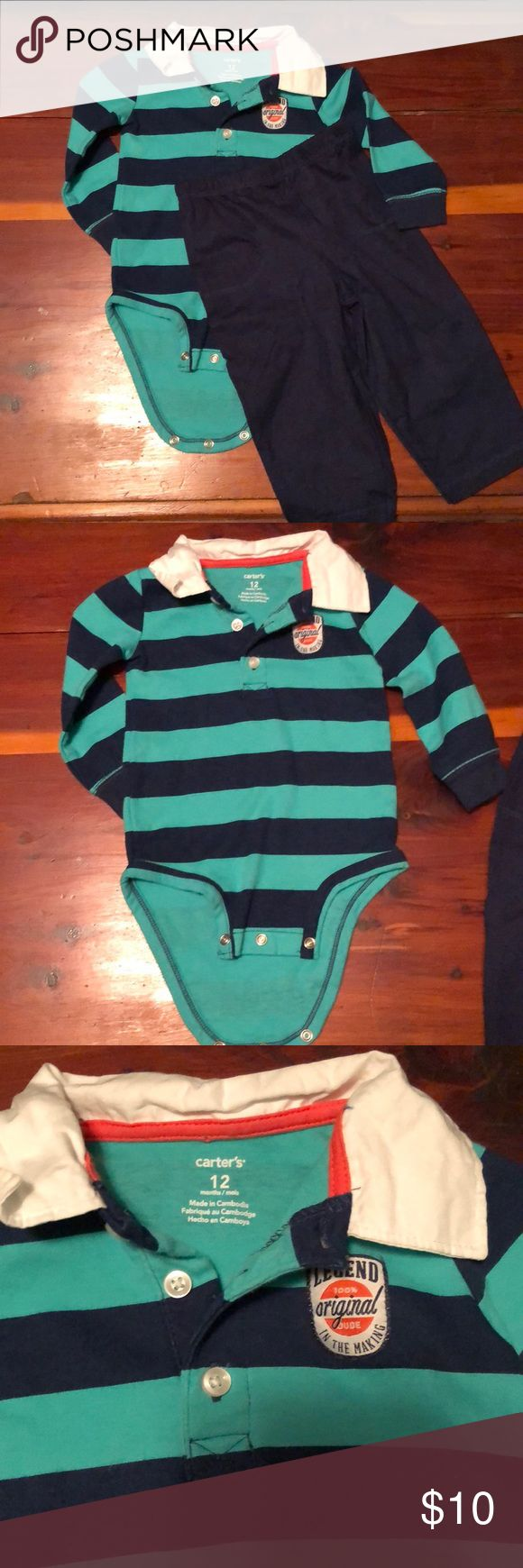 Boys 12 Month Outfit Carter's Shirt and Navy Pants Super cute long sleeve rugby type top with no holes, rips, or stains. 100% Cotton. Top is Carter's. Navy pants are 100% cotton and are Onesies brand. They are in perfect condition with no holes, rips, or stains. Pants say 20-24 lbs. Smoke free home. Carter's Matching Sets