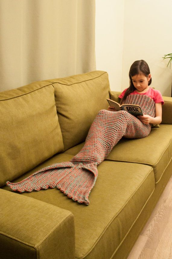 Mermaid Tail Lapghan Blanket Crochet Pattern, Children and Adult Sizes Included-- PDF file -- INSTANT DOWNLOAD --