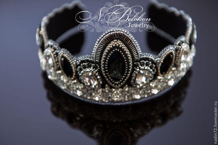 Купить Тиара. Корона. Ободок для волос - серебряный, чёрный, тиара, ободок для волос, ободок, корона