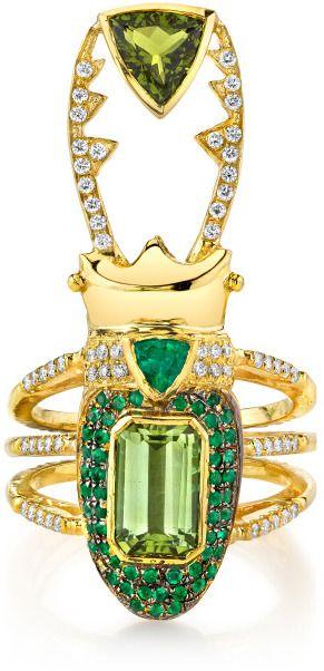 Daniela Villegas Perseus 18K Gold, Emerald, Tourmaline Ring at MODA OPERANDI