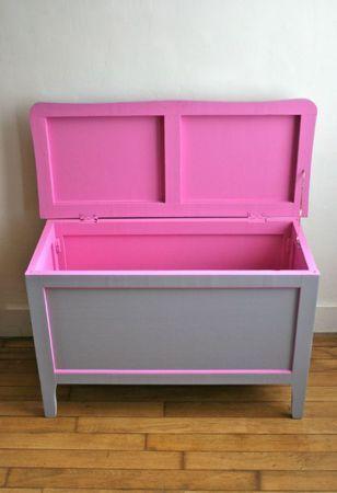 Coffre  jouets gris/rose fluo