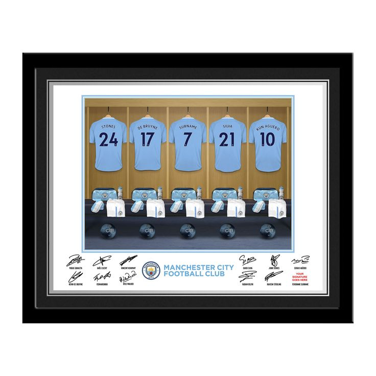 Manchester City FC Dressing Room Photo Framed