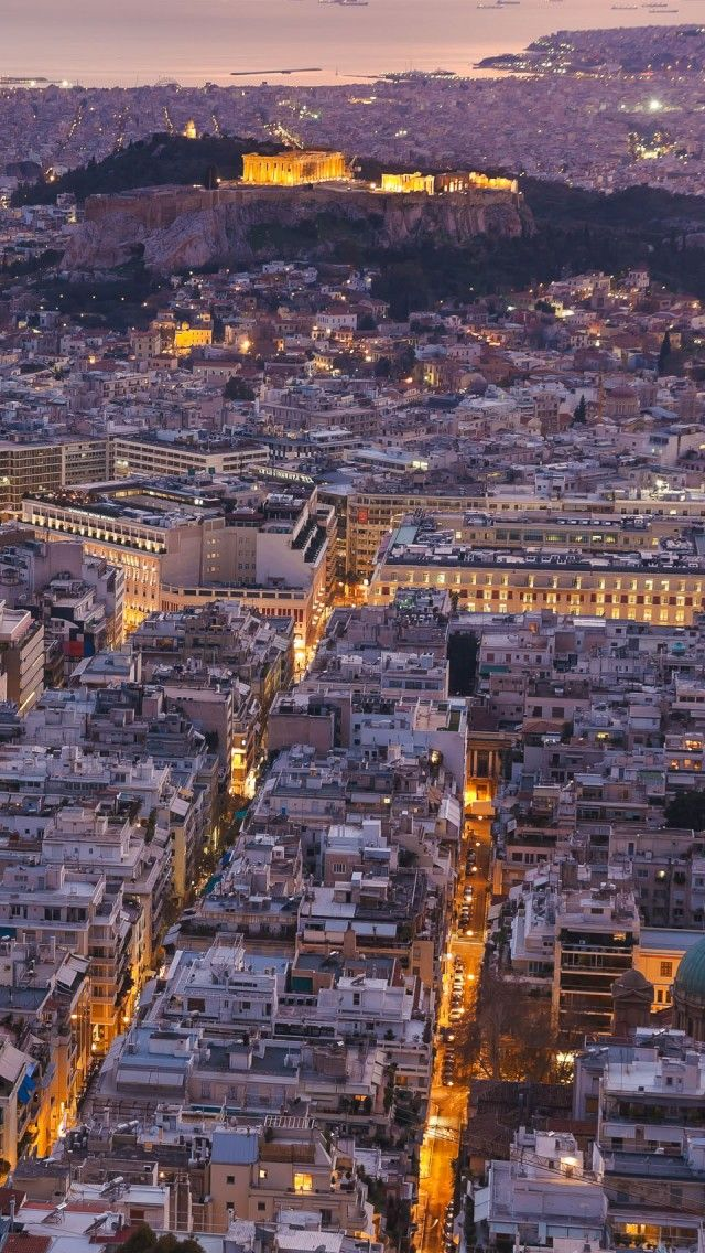 #Athens city view during night.