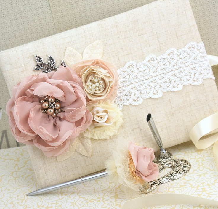 Wedding Guest Book and Pen Set Large Shabby Chic Vintage Inspired in Blush Pink, Ivory and Nude with Linen and Lace. via Etsy.